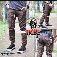 Celana Jogger Panjang Pria Strip Imbe Denim 100% Original