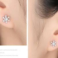 Anting Pesta Tusuk Korea Silver S925 Mini SnowFlakes Blink J9105