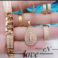 Xuping set gelang kalung cincin anting lapis emas 24k 290002