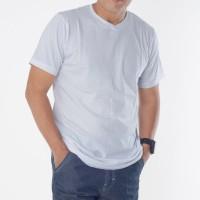 Muscle Fit Kaos Polos V-Neck Lengan Pendek Cotton - Solid Color
