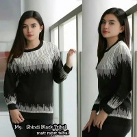 Shindi Black Tribal   Sweater Rajut   Sweater Wanita   Baju Rajut   At