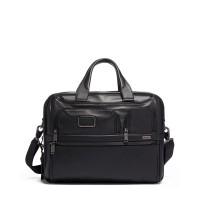 TUMI Alpha 3 Expandable Organizer Laptop Brief Leather - Black