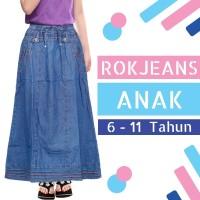 Rok Anak Panjang - Rok Jeans Anak - Rok Anak Perempuan Usia 6-11tahun