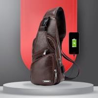 Tas Selempang Kulit USB Port Charger Ransel Leather Bag Pria Sling