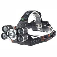 senter kepala 5 mata / Headlamp Cree XM-L 1T6+4XPE 16000 Lumens
