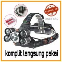 paket senter kepala 5 mata / Headlamp Cree XM-L 1T6+4XPE 16000 Lumens