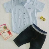 Baju Anak Laki laki | Kemeja Motif Celana Jeans bordir Best Quality