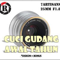 Lensa Manual 7artisans 25MM F1.8 Fuji X FX Mount Silver