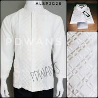 Baju Koko Muslim Lengan Panjang Putih Bordir Senada PDWANS - ALSPJG26