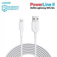 Kabel Charger Anker PowerLine II Lightning 10ft White - A8434
