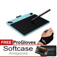 Premium Intuos ART Biru CTH490 B0 BONUS SOFTCASE Antigores Gloves