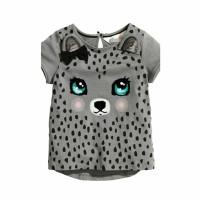 Baju Kaos Anak Perempuan Cute Leopard Gray Zh-Dgp018