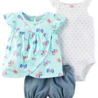 Baju Anak Bayi Perempuan Carter Set Kupu Tosca Celana Jumper Putih