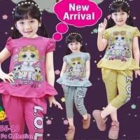 Baju Setelan Anak Perempuan Little Pineapple Lol Kacamata Celana Kerut
