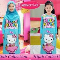 Baju Muslim Little Pineapple Hello Kitty Blue Uk 3-8 Thn