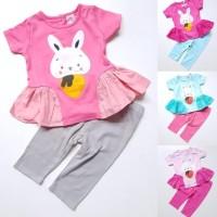 Baju Setelan Anak Bayi Perempuan Kaos Kelinci Wortel Celana Legging