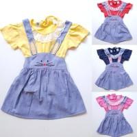 Baju Setelan Anak Perempuan Kaos Dot Dress Katun Denim Overall Kelinci