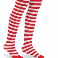 Legging kostum anak garis garis merah hijau stripes santa christmas