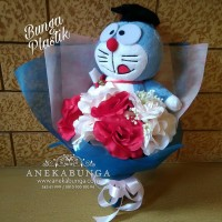 Boneka Wisuda Buket Bunga Mawar Plastik Artificial Hand Bouquet Flower