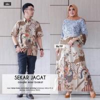 Batik couple dress brokat kemeja lengan pendek motif sekar jagad