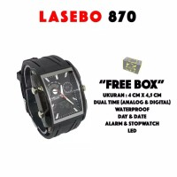 jam tangan Lasebo 870 kotak square original aksesoris pria dan wanita