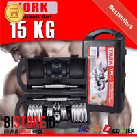 (JNE/SICEPAT) Barbel 15 kg / Dumbel 15 kg /Dumble 15kg York Chrome Set