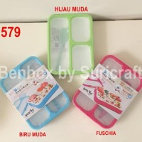 Lunch box Yooyee Grid 3 Sekat - Biru Muda