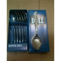 SUPER DOLL Sendok Makan Stainless Steel Dessert Spoon isi 6 Pcs Perdus