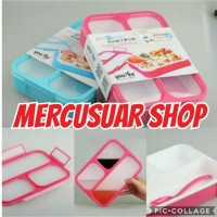 LUNCH BOX YOOYEE GRID SEKAT 3 ANTI TUMPAH - Biru Muda
