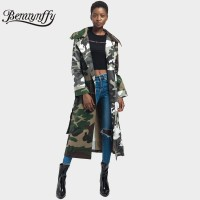 Benuynffy Army Green Camouflage Print Tie Waist Long Coat Autumn