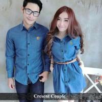 (FREE BELT) kemeja dress couple murah baju kapel denim fashion