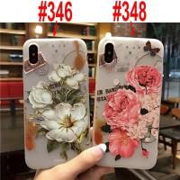 Casing Soft Case Emboss 3D Peony untuk iPhone X/XR/XS/X Berkualitas