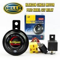 Klakson Single Disk HELLA utk Sepeda Motor *Plus Kbl Set & Relay Hella