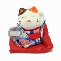 Patung Kucing Mini Maneki Neko Lucky Cat Biru penarik rejeki dan hoki