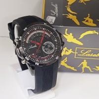 jam tangan pria original lasebo tipe 208 dual time rubber waterproof - Jarum Merah