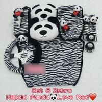 Set SARUNG bantal headrest jok kursi mobil Panda ZEBRA HITAM 8 K