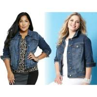 Jaket jeans wanita jumbo levis big size - Biru Muda