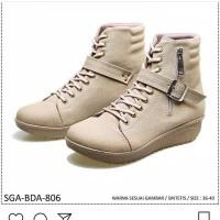 sepatu kulit casual boot woman semi kulit