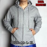 KUALITAS PREMIUM !!! Jaket pria hoodie zipper abu muda misty sweater