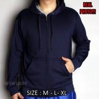 BEST SELLER !!! Jaket hoodie zipper navy biru dongker original premium