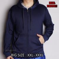 PALING LAKU !!! Jaket hoodie zipper polos navy biru dongker BIG SIZE