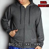 PALING LAKU !!! Jaket pria BIG SIZE XXL XXXL hoodie zipper abu tua