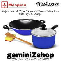 Maspion Kukina BLUE Wajan Ceria Enamel 35cm & Saucepan 18cm