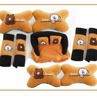 Bantal Jok Mobil Car set headrest Motif Cony Brown Line 9 pcs Terlaris