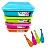 Lunch Box Clio NARA Plastik 3 sekat & Sendok - isi 1pcs - Kotak Makan