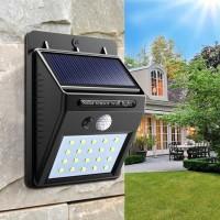 SOLAR POWER LED WALL LIGHT - LAMPU TENAGA SURYA 20 LED SENSOR GERAK