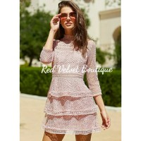 Pink Lace Ruffle Tier Dress Mini Casual Party Formal Dress IMPORT