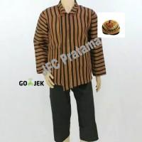Baju Surjan Lurik + Celana + Blangkon Pakaian Adat Jawa