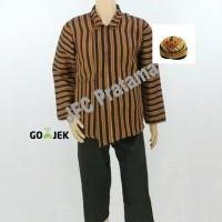 Baju Surjan Lurik Jumbo XXL + Celana + Blangkon Pakaian Adat Jawa