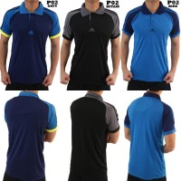 POLO OLAHRAGA ADIDAS P02 - BAJU KAOS KERAH SPORT GYM GOLF TRAINING
